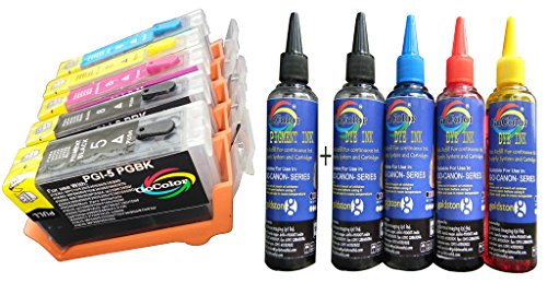 GOCOLOR WITH INK CANON REFILLABLE PGI5 & CLI8 SET OF 5 COLOR CARTRIDGE WITH AUTO RESET CHIP: 1 REFILL PIGMENT BLACK (PGI5BK) 1 BLACK (CLI8BK) 1 CYAN (CLI8C) 1 MAGENTA (CLI8M) AND 1 YELLOW (CLI8Y) FOR CANON 4500 6600 6700 4300 9000 970 9000 800 960 810 5200 530 950 830 850 610 600 800 5200 4200 500 PRINTER + 100 ML X 5 (PBK+BK+C+M+Y 5 COLOR INK SET )