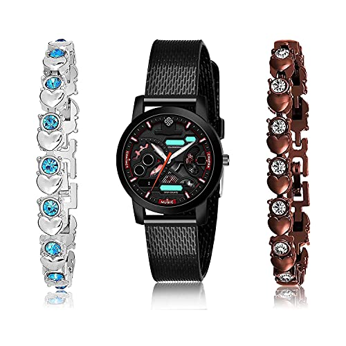 TIMENTER Unique Bracelet and Watch Combo Analogue Black,Silver and Brown Color Dial Women Watch - (3-L-10)-GX3-GX9 (Pack of 3)