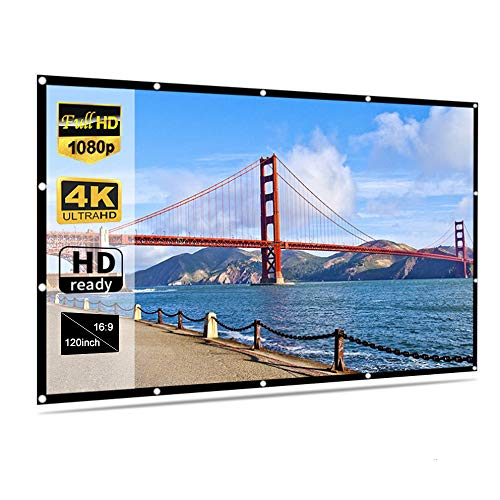 Irfora Foldable No Crease Soft Projector Screen Holes Hanging Portable Home Movie Meeting Screen (120inch 16:9)