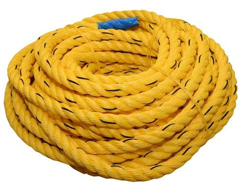 AgriWorld™ 60M Length [ISI Marked] 8mm Thickness Twisted Nylon Rope Industrial Grade Multipurpose Utility Line - Rot, Alkali, Chemical, Weather Resistant - Crafts, DIY Projects, Towing, Dock Lines, Heavy Load Uses (Yellow)