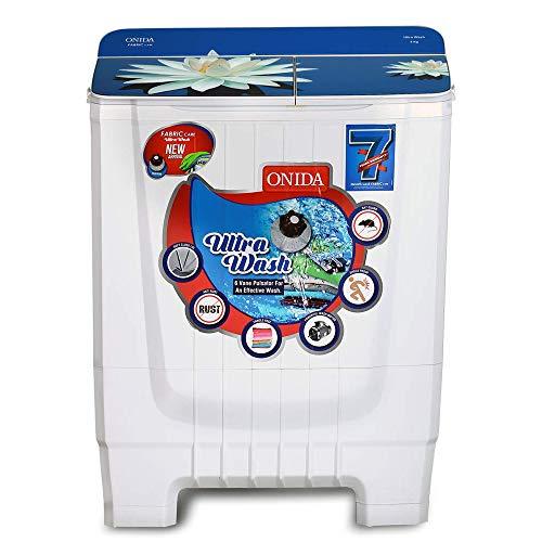 Onida 8 kg 5 Star Ultra Wash, Hydraulic Designer Glass Lid Semi Automatic Top Load Washing Machine (S80GS)