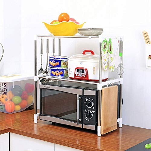 EVER MALL Stainless Steel Space Saver Double Design Microwave Oven Stand (L-12 x W-20 x H-26.5 inch)