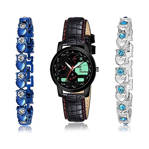 NEUTRON Unique Bracelet and Watch Combo Analogue Black,Blue and Silver Color Dial Women Watch - (2-L-4)-GX2-GX3 (Pack of 3)