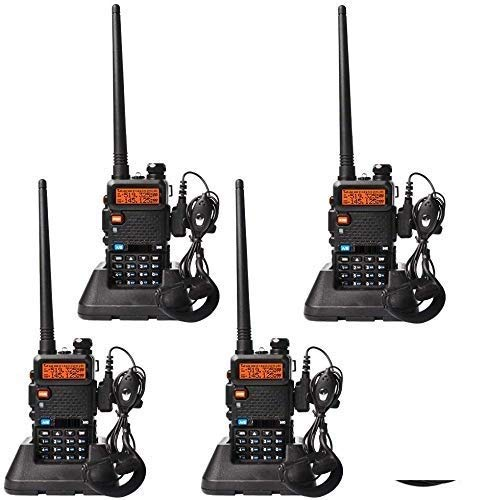 Sekuai 4-Wey Dual Band Two Way Radio (Pack of 4 Pcs) UHF/VHF 136-174/400-520 MHz FM Transceiver Ham Amateur Radio Walkie Talkies with Earphone Black