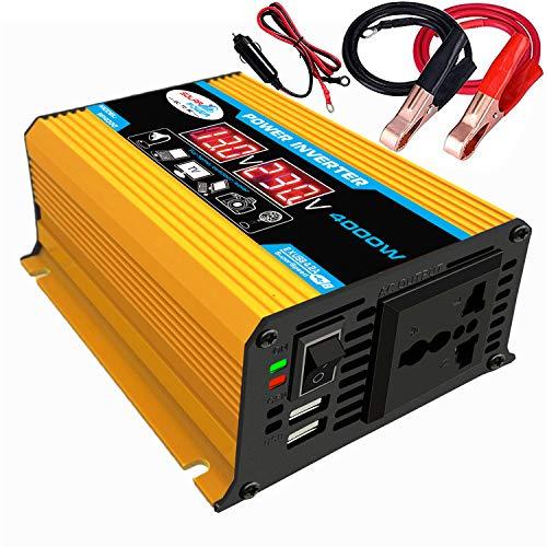 KKmoon-1 Modified Sine Wave Inverter High Frequency 4000W Peak Power Watt Power Inverter DC 12V to AC 110V Converter Car Power Charger Inverter with 2.1A Dual USB Port Battery Clips Display Screen