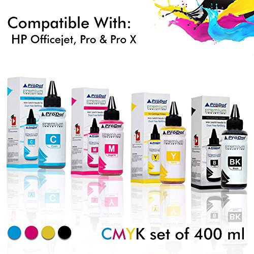 ProDot Inkjet Refill Ink with Safe Fill Needle for Cartridge Printers (Cyan/Magenta/Yellow/Black, Pack of 4)