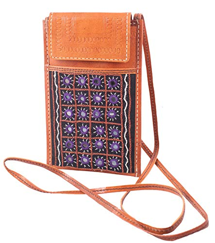 Ethnics of Kutch Pure Leather Aabhala Work Embroidery Leather Craft MOBILE COVER EK-MBC-0019 Black (21 15 1)