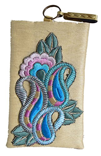Mahadev Exports Women's Kairi Patch Hooked Pouch Mobile Cover - Beige