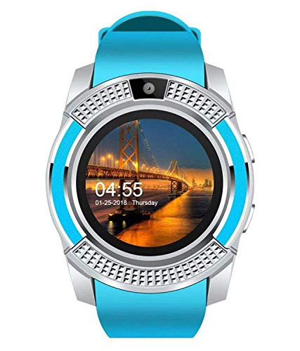 ABYAT V8 Smart Watch Bluetooth Compatible with All Mobile Phones for Boys and Girls - Blue