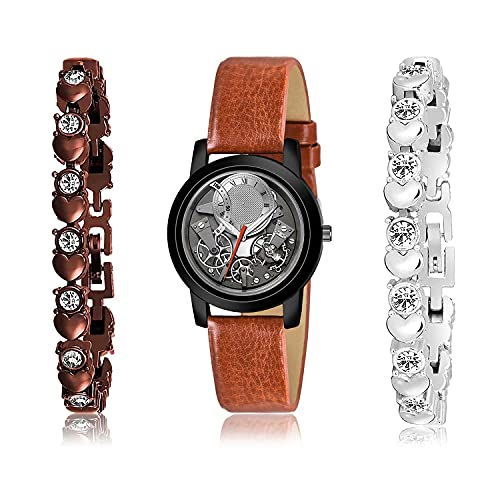 NIKOLA Fancy Bracelet and Watch Combo Analogue Grey,Brown and Silver Color Dial Women Watch - (9-L-8)-GX9-GX12 (Pack of 3)