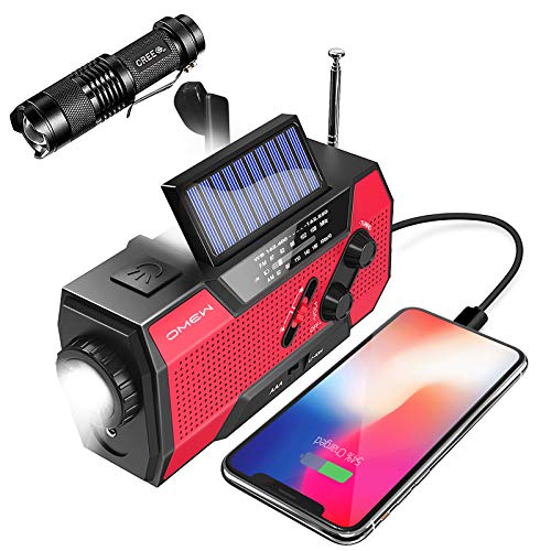 Emergency Weather Radio,Omew Portable Solar Hand Crank NOAA Weather Radio with AM/FM, LED Lamp, 2000mAh Power Bank Phone Charger, SOS Alarm and Waterproof Handheld Flashlight