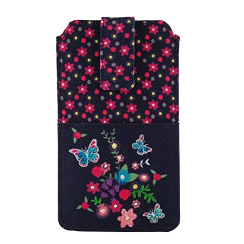 Pinaken Women and Girls Canvas Smartphone Cover (Butterfly Bloom)
