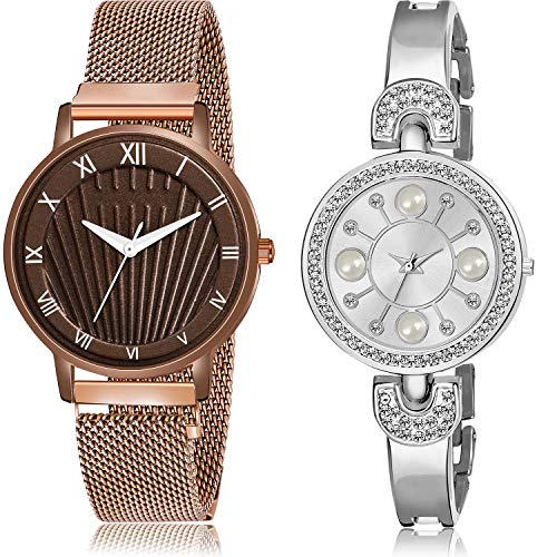 NEUTRON Magnet and Bangle Chain Analog Multi Color Dial Girls Watch - G519-G480 (Pack of 2)