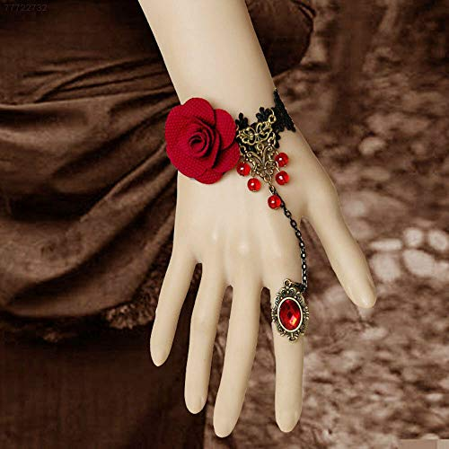 ELECTROPRIME 5E3D Retro Lace Flower Hand Chain Bracelet Bangles with Ring Women Party Accesso