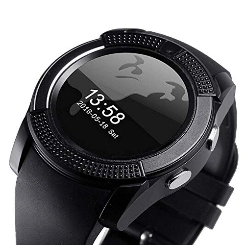 Generic V8 Sports Smartwatch Bluetooth Compatible with All Mobile Phones for Girls & Boys (Black)