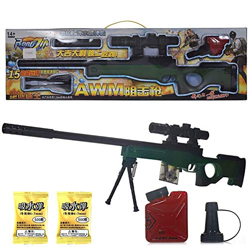 TUMTUM PUBG AWM Sniper Toy Gun,Scope, Water Bullets, Tripod, Silencer, Laser Target Shooting Gun,Army Gun for Kids Boys