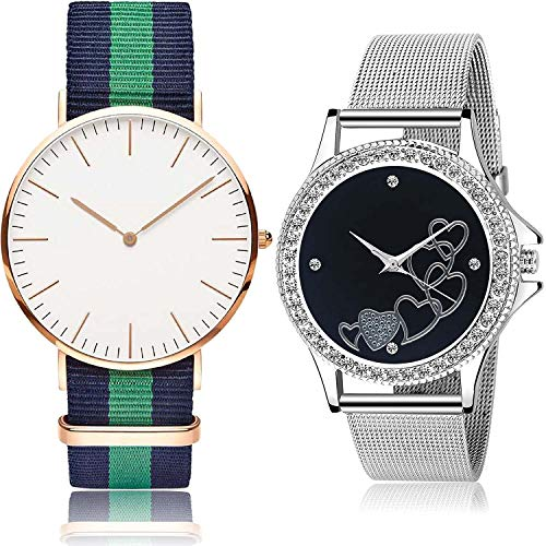 NEUTRON Love Valentine Analog White and Black Color Dial Women Watch - GC20-G285 (Pack of 2)