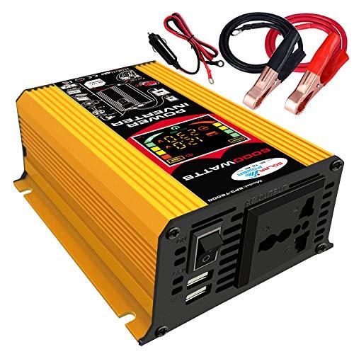 KKmoon-1 Modified Sine Wave Inverter High Frequency 6000W Power Watt Power Inverter DC 12V to AC 110V Converter Car Power Charger Inverter with 2.1A Dual USB Port Battery Clips Car Cigarette Plug LCD Disp