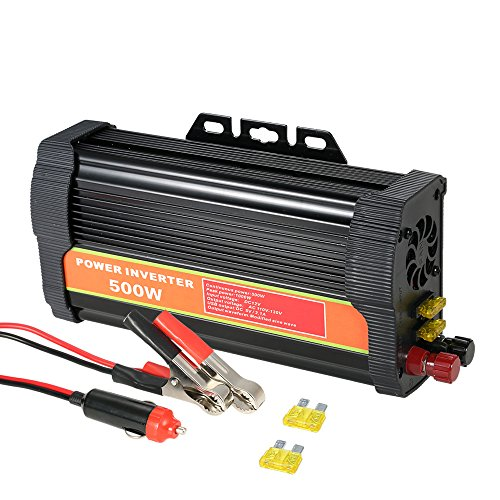 dodocool 500W DC12V to AC110-130V Power Inverter Modified Sine Wave Household Car Converter with 4.2A Dual USB and 2 AC Outlets
