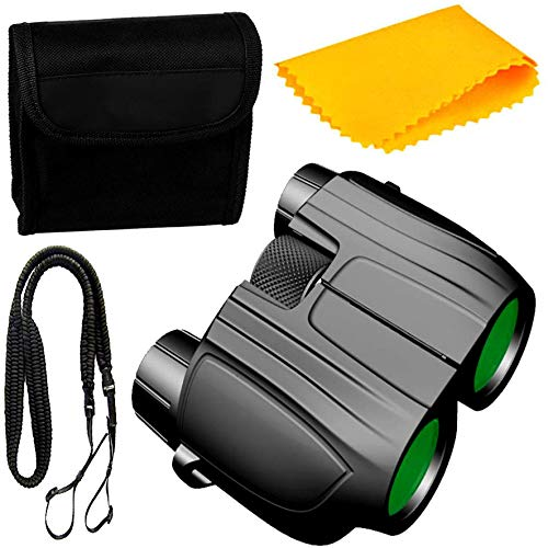 PE Binocular 10x25 with Powerful Lens Foldable Monocular Telescope Long Distance zoomable Vision high Power Wide Angle Sports Hunting Camping with Pouch