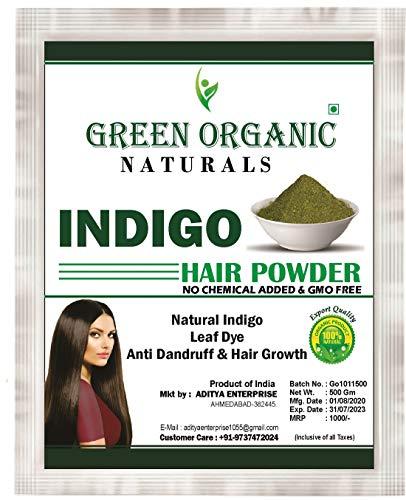 Green Organic Natural Indigo Powder for Hair, Natural Organic Leaves Herbs, Hair Strengthening, Shine, Conditioning, Natural Hair Color, 500gm