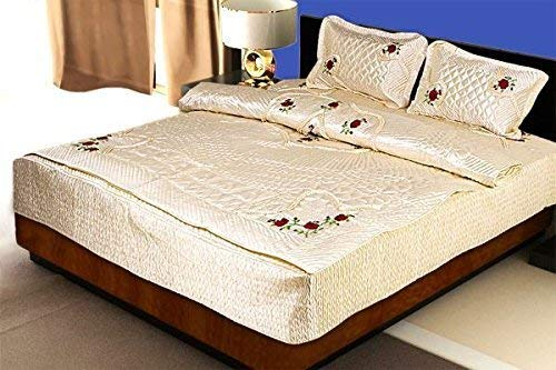 Craft Jaipur Floral Embroidery Satin Double Bed Bedding Set Includes 1 Double Bed Bedsheet, 2 Pillow Cover, 1 AC Comforter (Multicolour) - Set of 4 Pieces