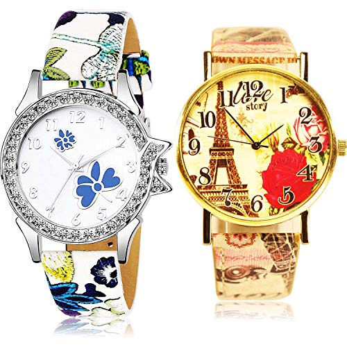 NEUTRON Flower and Paris Eiffel Tower Analog White and Multicolor Color Dial Women Watch - G489-G254 (Pack of 2)