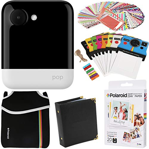 Polaroid POP Instant Camera (White) Gift Bundle + Zink Paper (20 Sheets) + Pouch + 100 Sticker Border Frames + Hanging Frames + Album