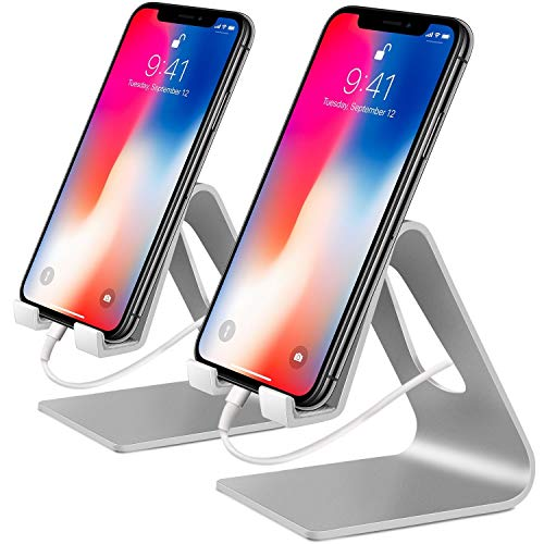 COOLOO Phone Stand, €2 Pack€'Moblie Phone Stand Charging & Anti-Skid Holder, Dock Compatible iPhone 8 X 7 6 6s Plus 5 5s 5c iPad Mini, Accessories Desk - Silver
