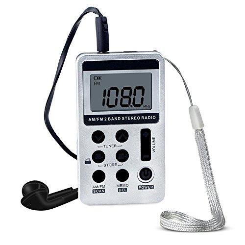 Walmeck HanRongDa HRD-103 AM FM Digital Radio 2 Band Stereo Receiver Portable Pocket Radio w/Headphones LCD Screen Rechargeable Battery Lanyard