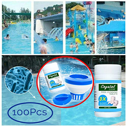 Water Purification Tablets, Magic Swimming Pool Cleaning Tablet with Floating Chemical Dispenser, Pool Maintenance Tablets,Effectively Eliminate Harmful Organisms (1 Bottle(100Tablets + 1 Dispenser))