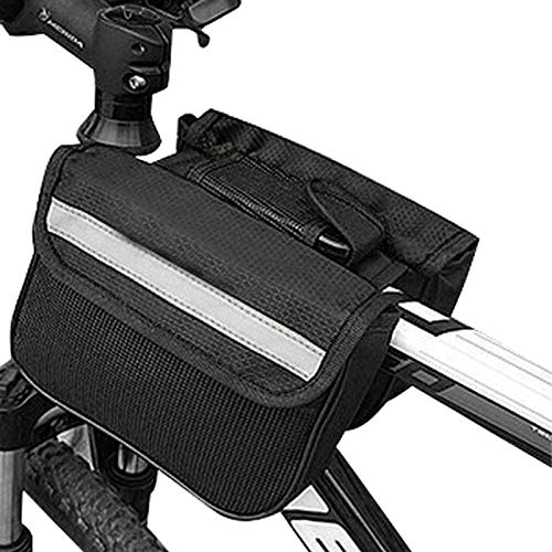 Kraptick 2L Bike Bag Bicycle Front Tube Frame Bag with Waterproof Cover, Reflective Trim, Phone Holder Case and Large Double Sided Pockets