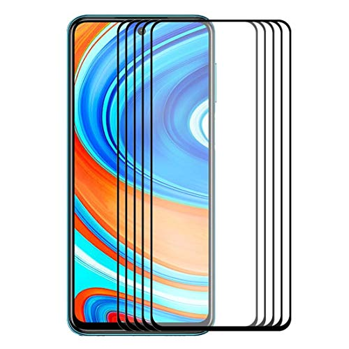 JUUANFDFINGD Cell Phones Screen Protectors for Xiaomi Redmi Note 9/Note 9 Pro 5 PCS Hat-Prince Full Glue 0.26mm 9H 2.5D Tempered Glass Full Coverage Film