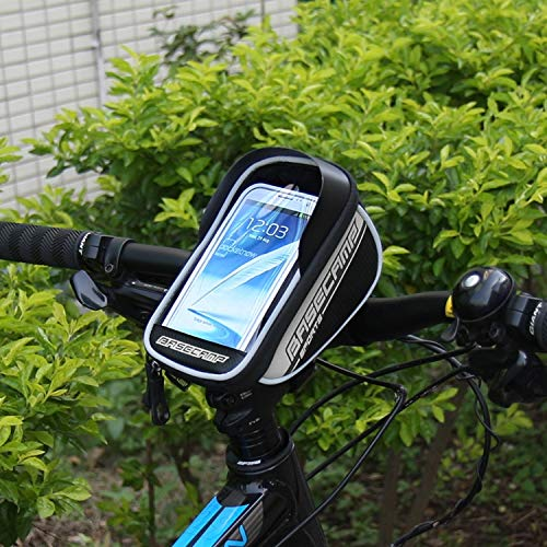 AmaZeus Basecamp BC-305 Bicycle Phone Bags Mountain Road Bike Front Head Top Frame Handlebar Bag with Transparent Window & Sun Visor for 5.8 Inch 15x8cm and Below Smartphones(Silver)