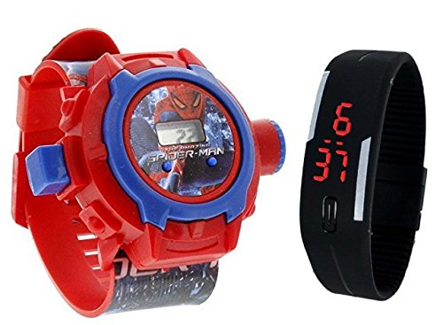 Boss pappi-haunt spiderman projector band with jelly slim black digital led band for kids -pack of 2- Multi color