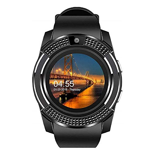 IIK COLLECTION V8 Bluetooth Android 4G with SIM Card Support Smart Wrist Watch Camera and Pedometer Health Features for Boys and Mens - (IIK-SW-V8-004-Black)