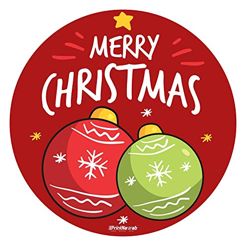PRINTNAWAB® Designer Mousepad Round | for Laptop and PC | Anti-Skid Natural-Rubber Base & Water Resistant | Merry Christmas New Year Wishes 1 Printed Design