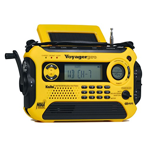 Kaito Voyager Pro Ka600 Digital Solar Dynamo Crank Wind Up Am Fm Lw Sw & NOAA Weather Emergency Radio with Alert RDS & Smart Phone Charger Standard Yellow