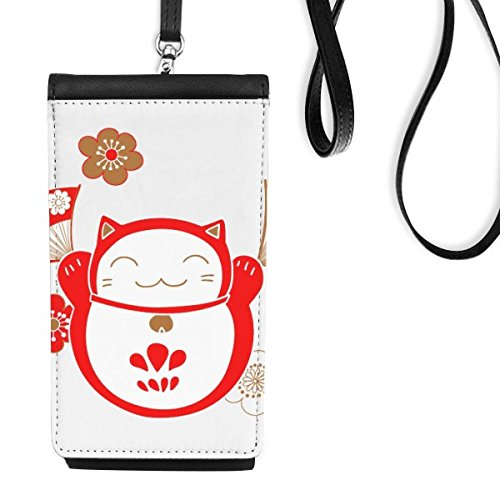 DIYthinker Lucky Fortune Cat Bell Flower Fan Japan Culture Faux Leather Smartphone Hanging Purse Black Phone Wallet Gift