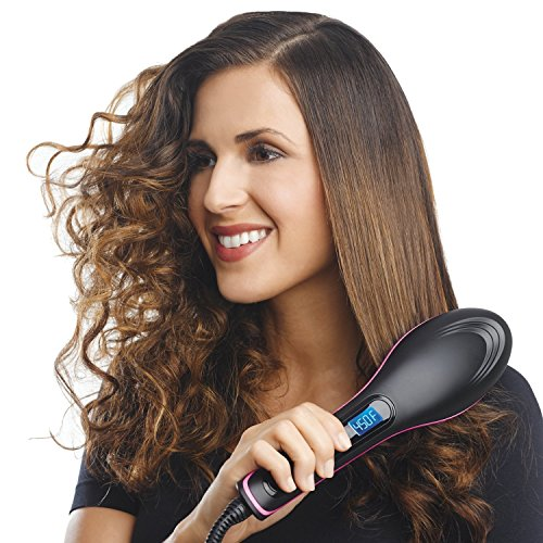 Wingclb Women's Professional Electric Hair Straightener with Temperature Control and Digital Display Brush (Black)