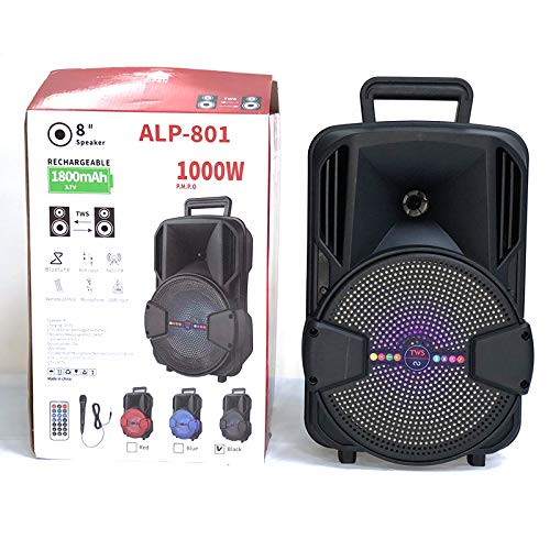 M D ALP-804 High Power Audio System with Karaoke Mic, Bluetooth Connectivity, Light Shows, Remote Control, FM Radio and AUX/LED/TF/USB/SD Card (Multicolour) (Black)