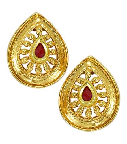 Zaveri Pearls Gold Leafy Pattern Traditional Earring for Women - ZPFK5476