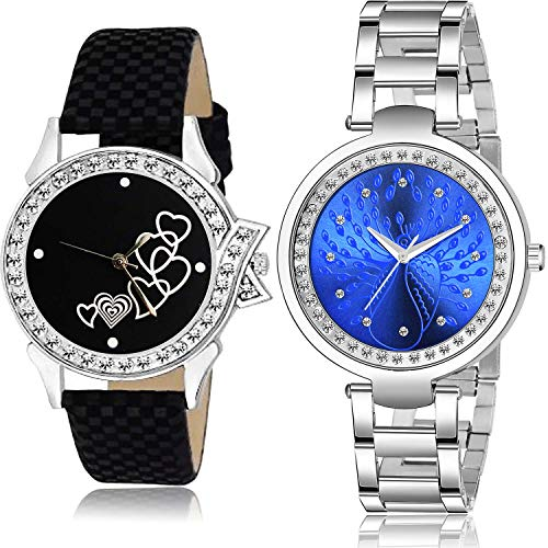 NEUTRON Love Heart and Chain Analog Black and Blue Color Dial Women Watch - G493-GM210 (Pack of 2)