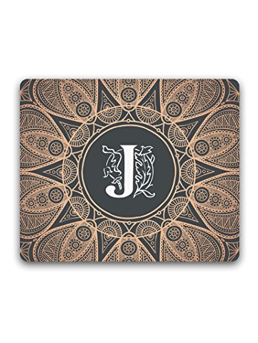 justgirlythings Madanyu Designer Mousepad Non-Slip Rubber Base for Gamers - HD Print - Personalised Initial J