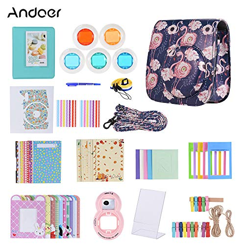 Honelife 14 in 1 Accessories Kit Accessory Replacement for Fujifilm Instax Mini 9/8/8+/8s with Camera Case/Strap/Sticker/Selfie Lens/5*Colored Filter/Album/3 Kinds Film Table Frame/10*Wall Hanging