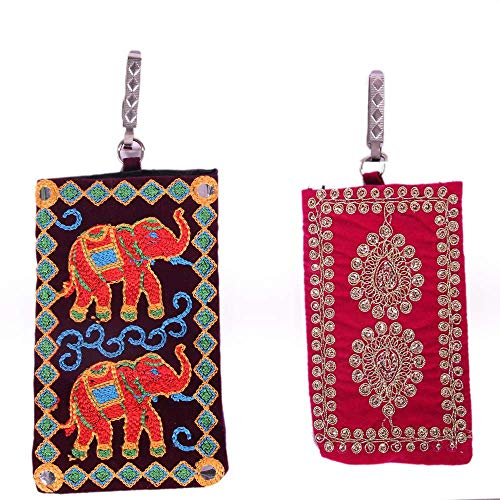 JprHouse Jpr House Rajassthani Handmade Embroidered Mobile Cover For Women | Printed Mobile Pouch Bag Purse For Girls | Set Of, MultiColor