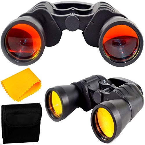 PE Binocular 7x50 with Powerful Lens Foldable Monocular Telescope Long Distance zoomable 168FT 1000YDS Vision Vision high Power Wide Angle Sports Hunting Camping Compass with Pouch