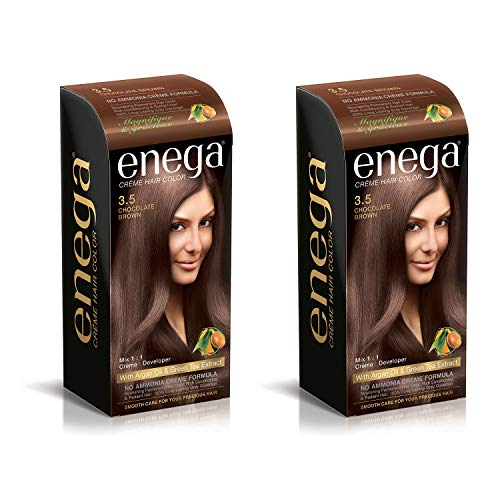 Prem Green Enega Cream No Ammonia Permanent Hair Color with Argan Oil and Green-Tea Extract (120 ml/Each, Chocolate Brown 3.5) - Pack of 2