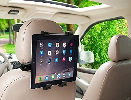 Delight Accessories SPYKART Adjustable Car Head Rest Mount and Holder for 7 to 10 inch Tablets and iPad Headrest Rotating Cradle Back Seat Dock Stand