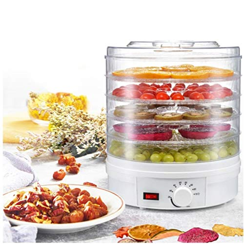 AubeAlba Food Dehydrator, Preserver, Jerky Maker, Plastic Electric Transparent 5 Tier Countertop Dry Food Saver Machine with Adjustable Temperature Control For Home